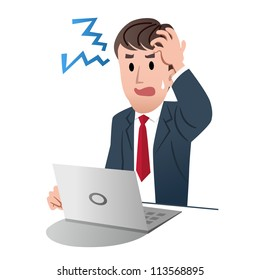 Frustrated businessman holding his head with left hand against white background