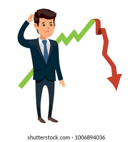 Frustrated businessman standing in fornt of arrow going downward on graph. Disappointed business man. Cartoon character. Stock vector illustration in fla