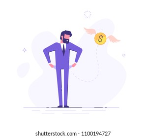 Frustrated businessman is turning out his empty pockets. Financial troubles. Flat modern illustration.