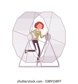 Frustrated businesswoman in a runnig wheel ,adrenaline is pumping, repetitive purposeless task, spending a lot of energy but never getting ahead, cannot leave secure employment and start own business