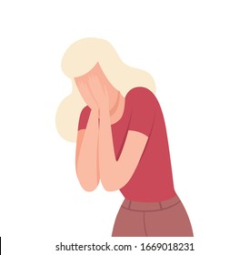 Frustrated Crying Young Woman, Lonely and Sad Girl Character Flat Vector Illustration