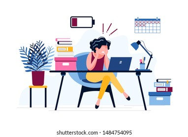 Frustrated female office worker. Exhausted woman tired of the huge amount of work with a discharged battery. Deadline. Stress, depression at work. Vector illustration. Workplace burnout concept.