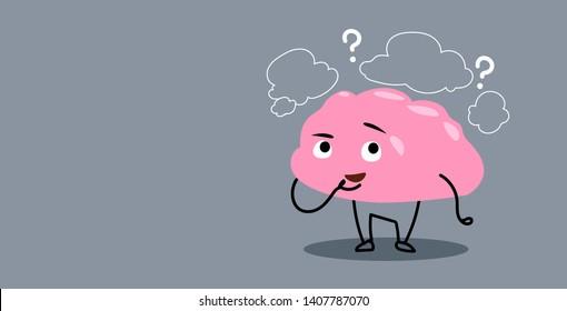 frustrated human brain organ thinking chat bubble question marks kawaii style pink cartoon character horizontal