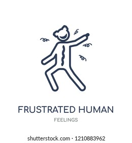 frustrated human icon. frustrated human linear symbol design from Feelings collection. Simple outline element vector illustration on white background.
