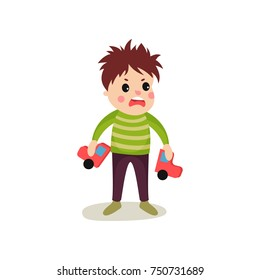 Frustrated kid boy flat character holding broken toy car in hands