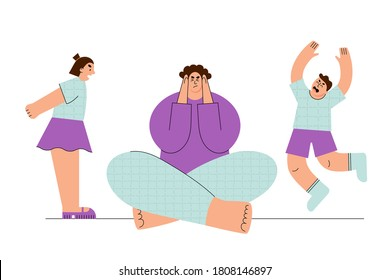 Frustrated mother having migraine because of her noisy active children vector illustration