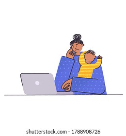 Frustrated and stressed woman with  kid and  notebook. Psychological problems, depression, fatigue, bad mood. Burnout concept in flat style vector illustration. Small children in the family. Busy mom