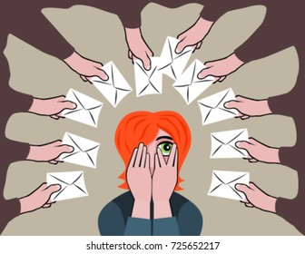 Frustrated woman receiving too much email correspondence. Information overload nightmare cartoon. Vector illustration