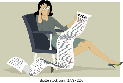 Frustrated woman sitting in a chair, holding a comically long to do list, Vector illustration, no transparencies, EPS 8