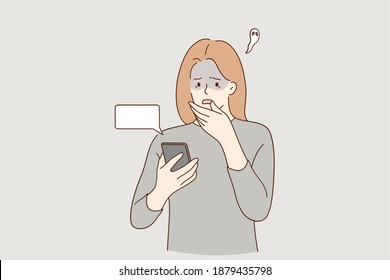 Frustration, broken phone, problems in communication concept. Worried concerned girl cartoon character looking at her phone screen cracked and shattered to pieces or feeling bad with message