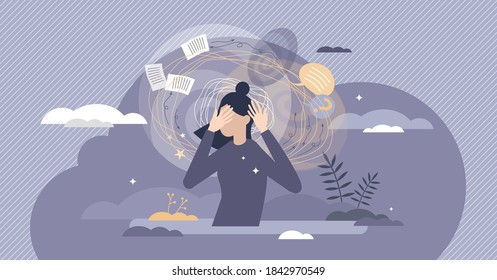 Frustration swirl as dizzy mental feeling problem crisis tiny person concept. Work overload pressure caused depression and emotional state vector illustration. Psychological tension and disorientation