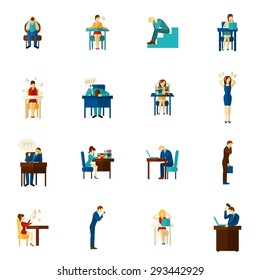 Frustration and upset people man and woman hysterical emotion flat color icon set isolated vector illustration