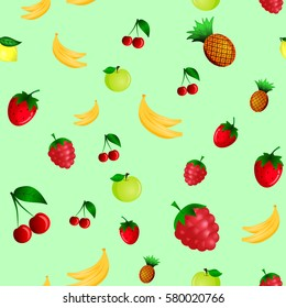 Fruts seamless pattern. Good for wallpaper, wrapping papers and texture. Vector illustration.