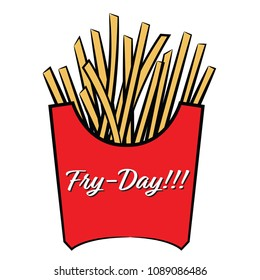 Fry-Day. Fries Illustration.