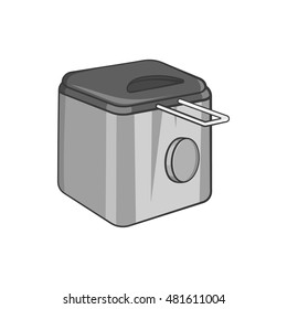 Fryer icon in black monochrome style isolated on white background. Appliances symbol vector illustration