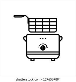 Fryer Icon, Deep Fryer Vector Art Illustration