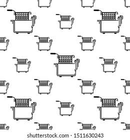 Fryer Icon Seamless Pattern, Deep Fryer Vector Art Illustration