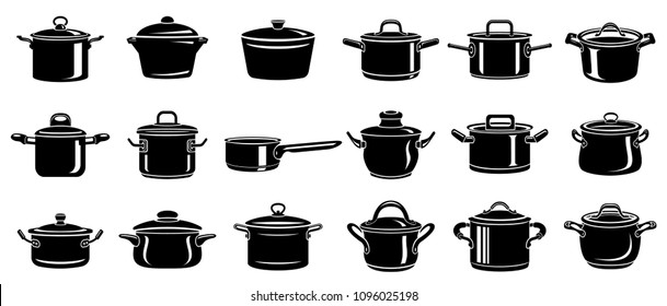 Frying hot saucepan cook pan icons set. Simple illustration of frying hot saucepan cook pan vector icons for web