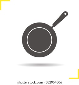 Frying pan icon. Drop shadow pictogram. Isolated skillet black illustration. Frying pan logo concept. Vector silhouette icon
