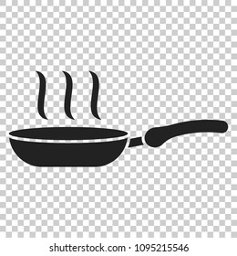 Frying pan icon in flat style. Cooking pan illustration on isolated transparent background. Skillet kitchen equipment business concept.