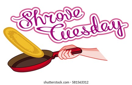 "Frying pan with a pancake. Picture with artistic written sign ""Shrove Tuesday"". Vector clip art."