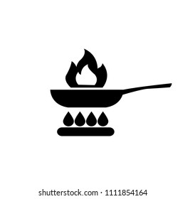 Frying pan, skillet with fire vector icon, cooking vector icon