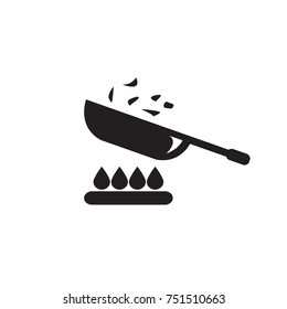 Frying pan or skillet or wok on stove cooking vector icon