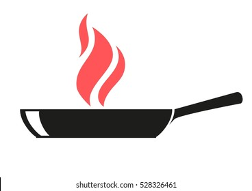 frying pan with spires flames isolated outline vector illustration