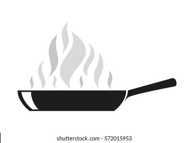 frying pan with steam spires isolated outline vector illustration