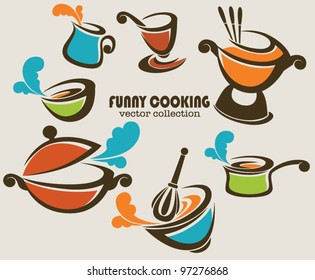 frying pans, woks and other kitchen stuff, vector collection