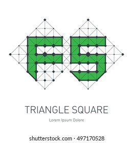 FS initial logo. F and 5 logotype. Vector design element or icon with squares, triangles and rhombus.