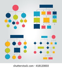 FSet of 6 flow charts schemes, diagrams. Simply color editable. Infographics elements.