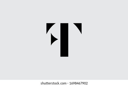 FT or TF and F or T Letter Initial Logo Design, Vector Template