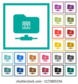 FTP archive flat color icons with quadrant frames on white background