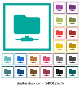 FTP flat color icons with quadrant frames on white background