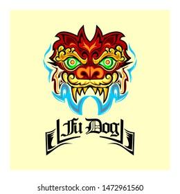 fu dog head tatto concept initial