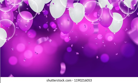 Fuchsia metallic baloons on the upstairs with clear path isolated on white background