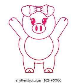 fucsia line adorable female pig animal with hands up