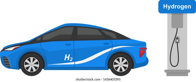 Fuel alternative vehicle vector team-car or gas-truck and solar-van or gasoline electricity station illustration set of bio-ethanol and hydrogen electric-car isolated on white background