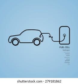 fuel cell car filling hydrogen