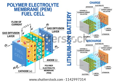 Fuel Cell Liion Battery Diagram Vector Stock Vector Royalty Free