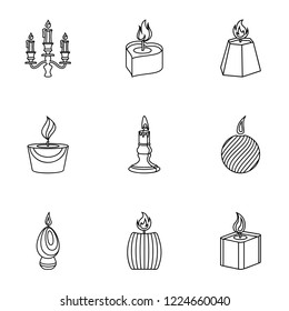 Fuel combustion icons set. Outline set of 9 fuel combustion vector icons for web isolated on white background