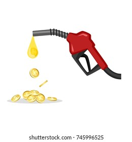 Fuel dispenser with money coin isolated on white background. Vector for your web site design, logo, app, UI. Vector illustration, EPS