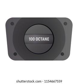 Fuel filler flap. Vector illustration. 100 octane gasolene
