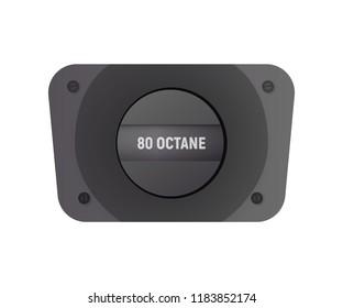 Fuel filler flap. Vector illustration. 80 octane gasolene