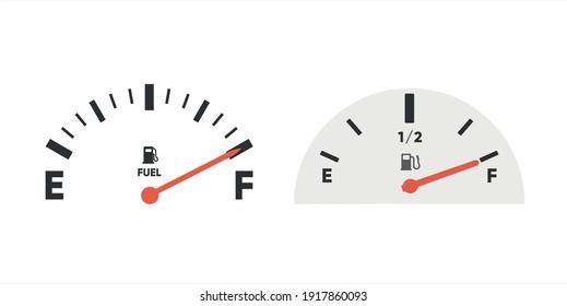Fuel full gauge icon. Gasoline indicator. Fuel indicator. Vector illustration
