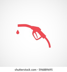 Fuel Gas Dispenser Red Flat Icon On White Background