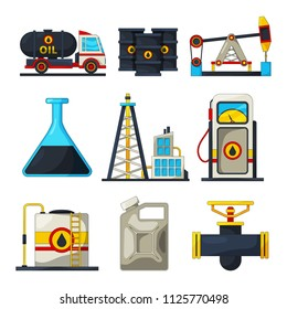 Fuel and gas industry. Vector icon set of petroleum and gas. Petroleum industry, refinery industrial production illustration