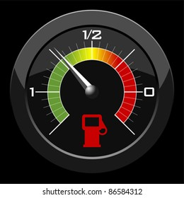 Fuel gauge colored scale over black background