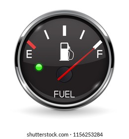 Fuel gauge. Full tank. Round black car dashboard 3d device with chrome frame. Vector illustration isolated on white background